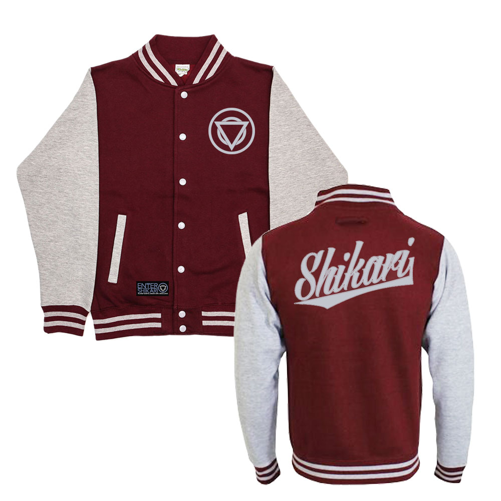 TEAM SHIKARI - VARSITY JERSEY JACKET (Burgundy/Grey)