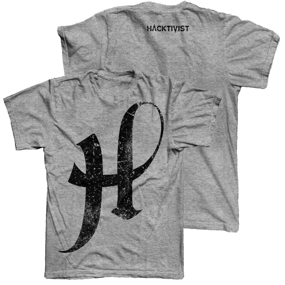 Hacktivist Logo (Distressed) Grey T-Shirt