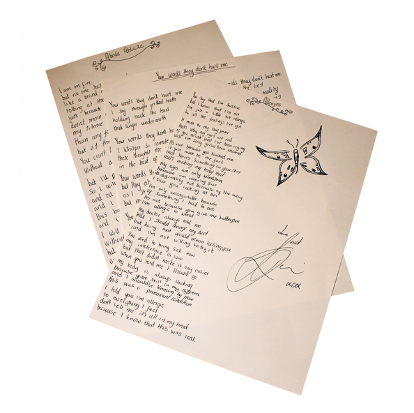 Custom Handwritten Poem Lyric Sheet (Signed)