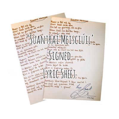 Suantraí Meisciúil Signed Lyric Sheet